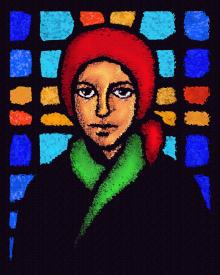St. Bernadette of Lourdes - Stained Glass by D. Paulos