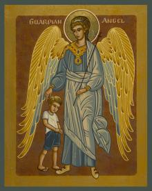 Guardian Angel with Boy by Joan Cole