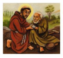 St. Francis and Lepers by Julie Lonneman