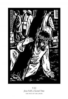 Traditional Stations of the Cross 07 - Jesus Falls a Second Time by Julie Lonneman