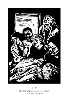Traditional Stations of the Cross 14 - The Body of Jesus is Laid in the Tomb by Julie Lonneman