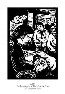Traditional Stations of the Cross 13 - The Body of Jesus is Taken From the Cross by Julie Lonneman