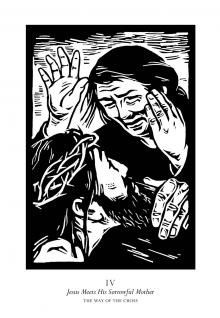 Traditional Stations of the Cross 04 - Jesus Meets His Sorrowful Mother by Julie Lonneman