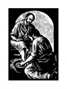 Jesus Washing Peter's Feet by Julie Lonneman
