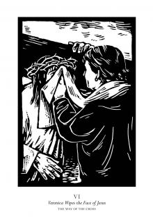 Traditional Stations of the Cross 06 - St. Veronica Wipes the Face of Jesus by Julie Lonneman