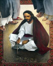 Jesus Writing In The Sand by Louis Glanzman