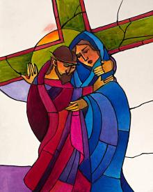 Stations of the Cross - 4 Jesus Meets His Sorrowful Mother by Br. Mickey McGrath, OSFS