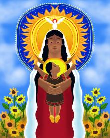 Lakota Madonna with Sunflowers by Br. Mickey McGrath, OSFS