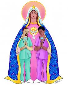 Our Lady of Refuge with Health Care Workers by Br. Mickey McGrath, OSFS