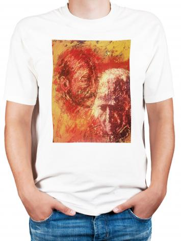 Adult T-shirt - Heart of Ignatius on Mind of Arrupe by B. Gilroy