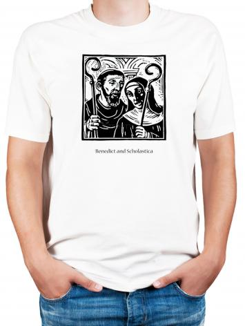 Adult T-shirt - Sts. Benedict and Scholastica by J. Lonneman
