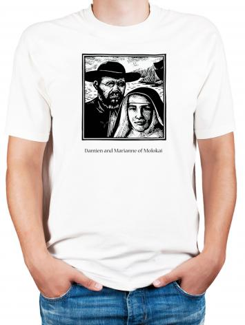 Adult T-shirt - Sts. Damien and Marianne of Molokai by J. Lonneman