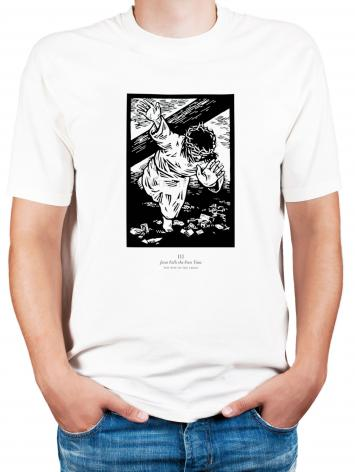 Adult T-shirt - Traditional Stations of the Cross 03 - Jesus Falls the First Time by J. Lonneman