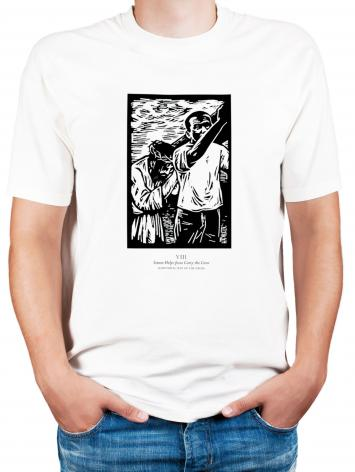 Adult T-shirt - Scriptural Stations of the Cross 08 - Simon Helps Jesus Carry the Cross by J. Lonneman