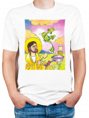 Adult T-shirt - Jesus: Fish Fry With Friends by M. McGrath