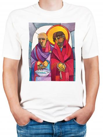 Adult T-shirt - Stations of the Cross - 01 Jesus is Condemned to Death by M. McGrath