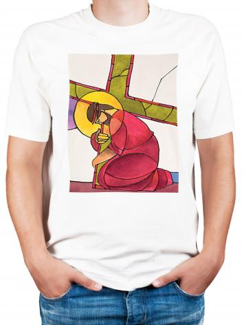 Adult T-shirt - Stations of the Cross - 03 Jesus Falls the First Time by M. McGrath