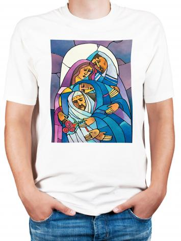 Adult T-shirt - Stations of the Cross - 14 Body of Jesus is Laid in the Tomb by M. McGrath