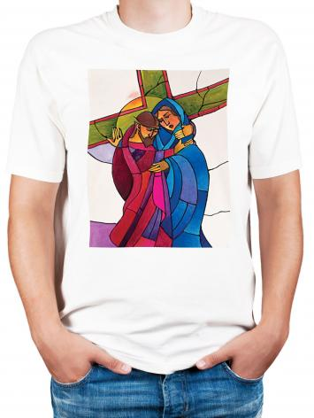 Adult T-shirt - Stations of the Cross - 04 Jesus Meets His Sorrowful Mother by M. McGrath