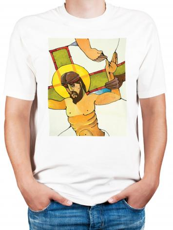 Adult T-shirt - Stations of the Cross - 11 Jesus is Nailed to the Cross by M. McGrath