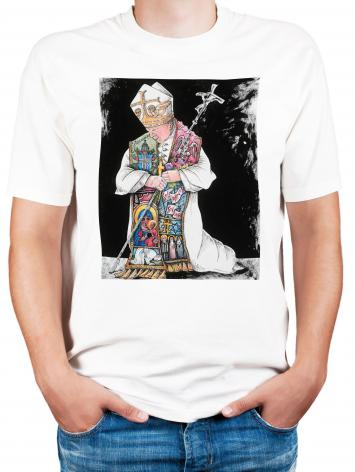 Adult T-shirt - St. John Paul II Kneeling by M. McGrath