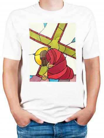 Adult T-shirt - Stations of the Cross - 07 Jesus Falls a Second Time by M. McGrath