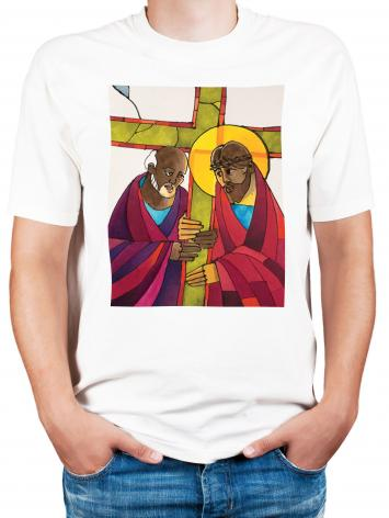 Adult T-shirt - Stations of the Cross - 05 Simon Helps Jesus Carry the Cross by M. McGrath