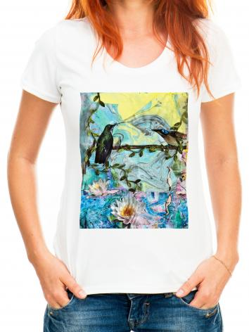 Adult T-shirt - Birds Singing Above White Heron by B. Gilroy