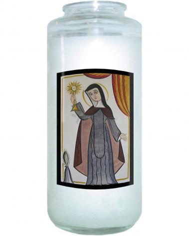 Devotional Candle - St. Clare of Assisi by A. Olivas