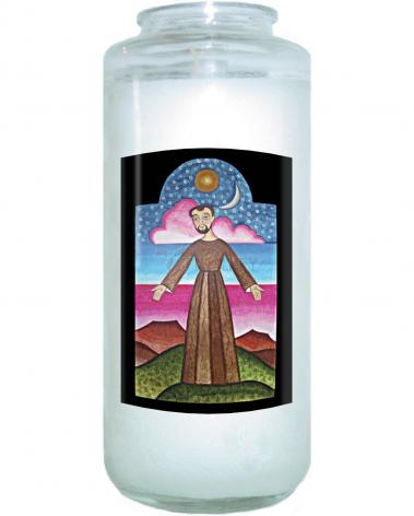 Devotional Candle - St. Francis of Assisi, Herald of Creation by A. Olivas