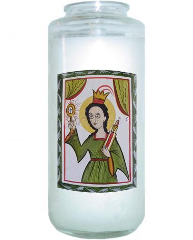 Devotional Candle - St. Barbara by A. Olivas