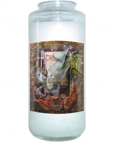 Devotional Candle - Faces Amidst Tattered Shroud by B. Gilroy