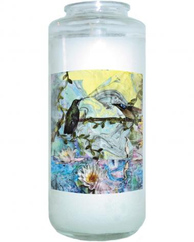 Devotional Candle - Birds Singing Above White Heron by B. Gilroy