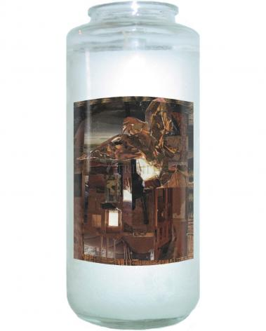 Devotional Candle - Eagle Hovers Over Ruins by B. Gilroy