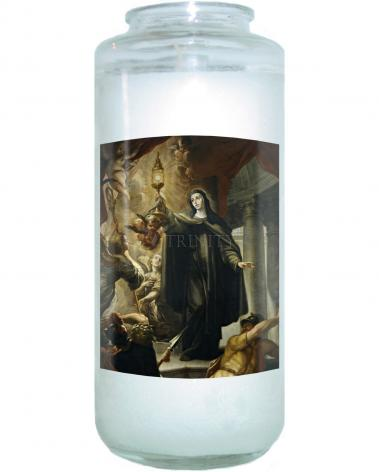 Devotional Candle - St. Clare of Assisi Driving Away Infidels with Eucharist by Museum Art
