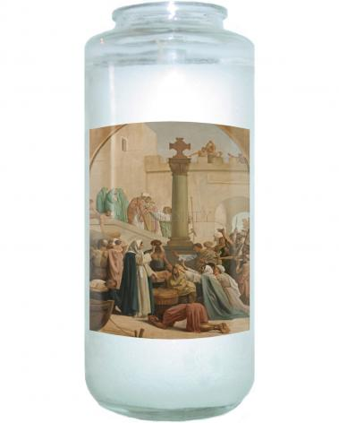 Devotional Candle - St. Genevieve Distributing Bread to Poor During Siege of Paris by Museum Art