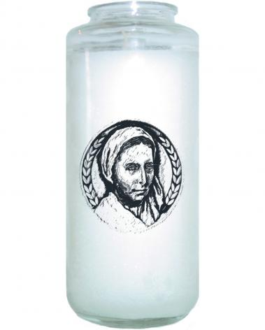 Devotional Candle - St. Bernadette of Lourdes - Pen and Ink by D. Paulos