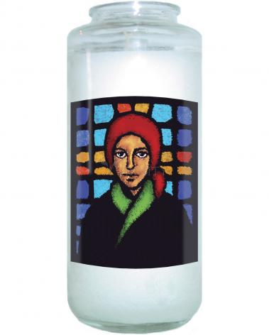Devotional Candle - St. Bernadette of Lourdes - Stained Glass by D. Paulos