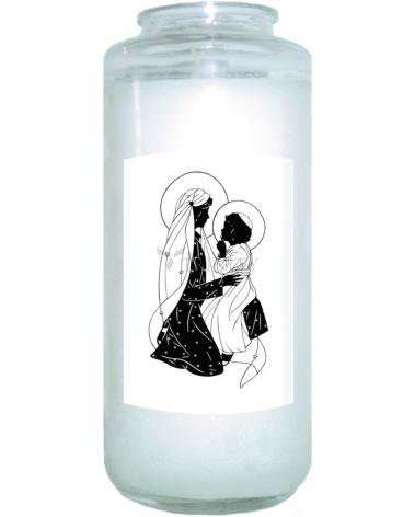 Devotional Candle - Lovely Lady Dressed in Blue - Detail by D. Paulos