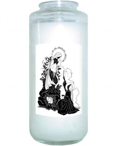 """Devotional Candle - Our Lady and St. Bernadette of Lourdes - """"I Love Thee, Madame""""  by D. Paulos"""