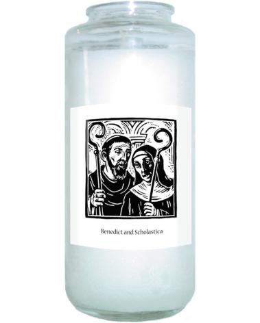 Devotional Candle - Sts. Benedict and Scholastica by J. Lonneman