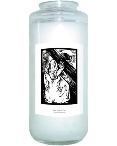 Devotional Candle - Traditional Stations of the Cross 02 - Jesus Accepts the Cross by J. Lonneman
