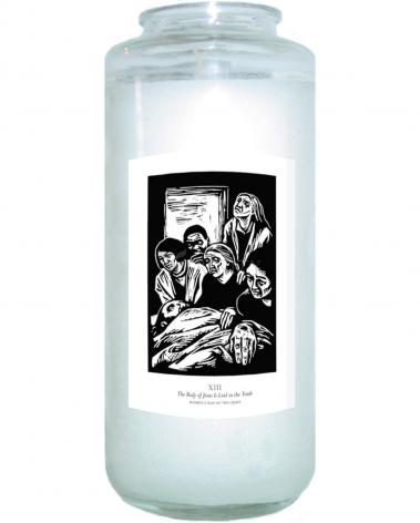 Devotional Candle - Women's Stations of the Cross 13 - The Body of Jesus is Laid in the Tomb by J. Lonneman