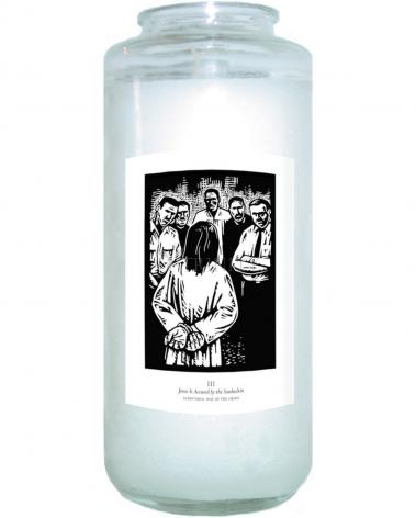 Devotional Candle - Scriptural Stations of the Cross 03 - Jesus is Accused by the Sanhedrin by J. Lonneman
