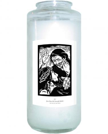 Devotional Candle - Traditional Stations of the Cross 04 - Jesus Meets His Sorrowful Mother by J. Lonneman