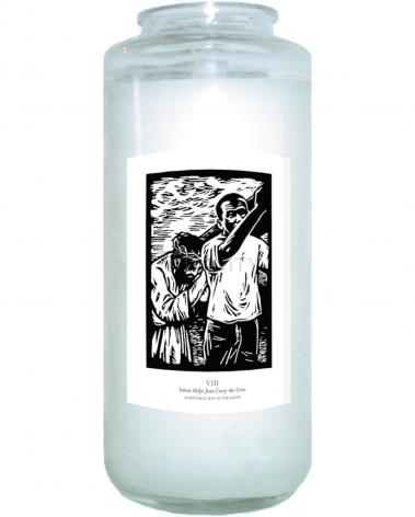 Devotional Candle - Scriptural Stations of the Cross 08 - Simon Helps Jesus Carry the Cross by J. Lonneman