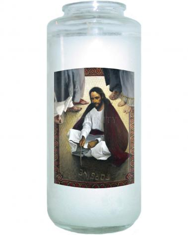 Devotional Candle - Jesus Writing In The Sand by L. Glanzman