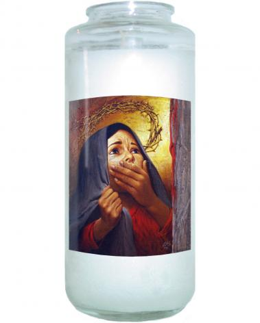 Devotional Candle - Mary at the Cross by L. Glanzman