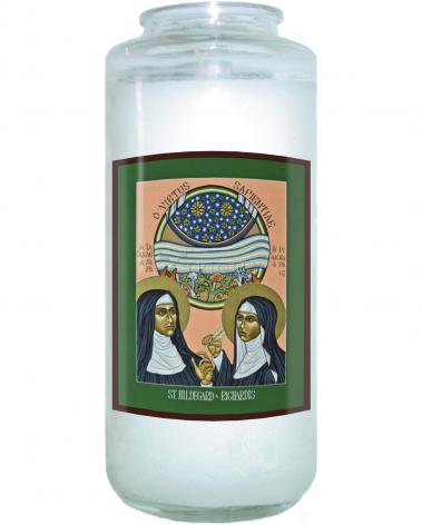 Devotional Candle - St. Hildegard of Bingen and her Assistant Richardis by L. Williams