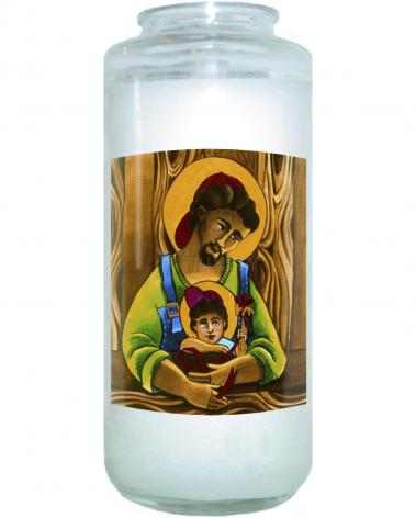 Devotional Candle - St. Joseph and Son by M. McGrath